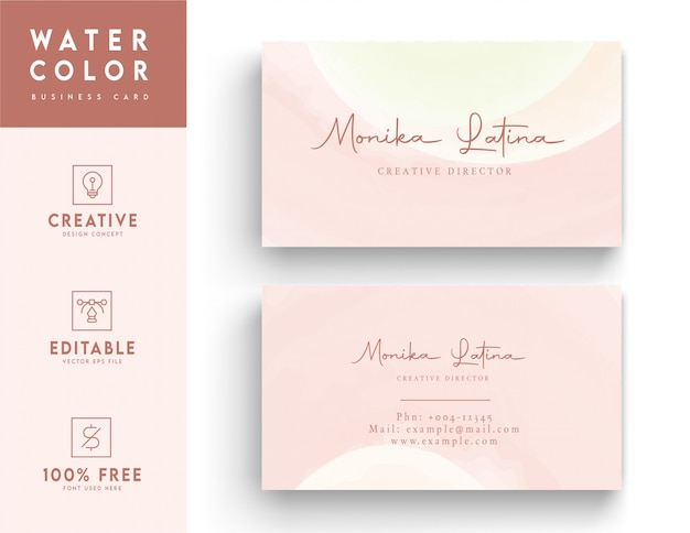Modello di biglietto da visita di colore di acqua - biglietto da visita di colore di acqua marrone e rosa