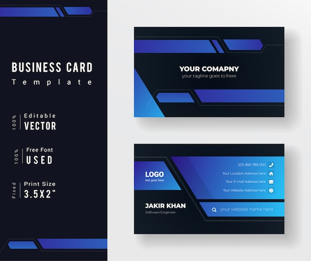 Modello di biglietto da visita di colore sfumato blu e nero