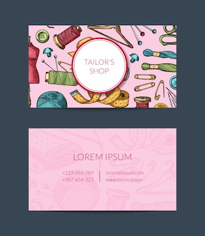 Modello di biglietto da visita di elementi disegnati a mano per atelier, corsi di cucito o illustrazione del negozio di mestieri della mano