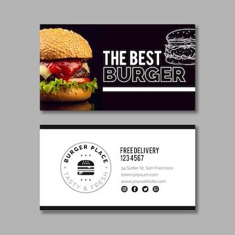 Modello di biglietto da visita di hamburger