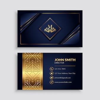 Modello di biglietto da visita di lusso premium