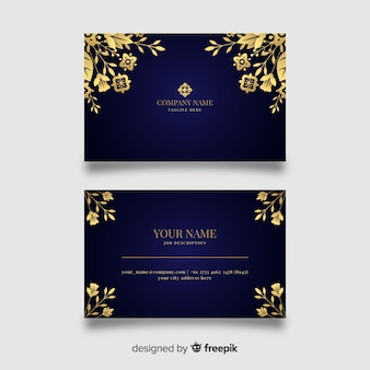 Modello di biglietto da visita dorato floreale