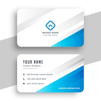 Modello di biglietto da visita elegante blu e bianco
