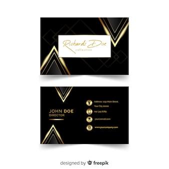 Modello di biglietto da visita elegante con stile dorato