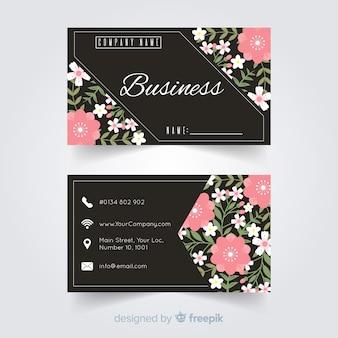 Modello di biglietto da visita elegante con stile floreale