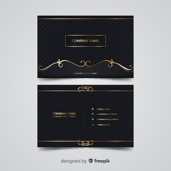 Modello di biglietto da visita elegante dorato