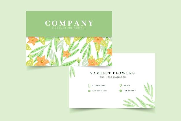 Modello di biglietto da visita floreale colorato