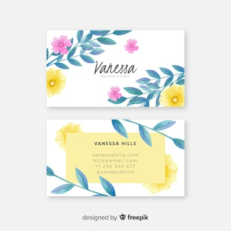 Modello di biglietto da visita floreale dell'acquerello elegante