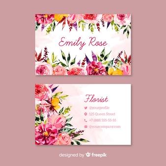Modello di biglietto da visita floreale dell'acquerello