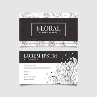 Modello di biglietto da visita floreale disegnato a mano realistico