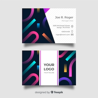 Modello di biglietto da visita geometrico multicolore astratto
