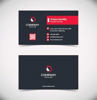 Modello di biglietto da visita geometrico nero e rosso moderno