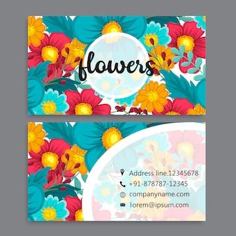 Modello di biglietto da visita impostato con fiori ad acquerelli