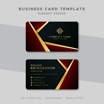 Modello di biglietto da visita in oro e design rosso