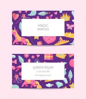 Modello di biglietto da visita magico e fiabesco simpatico cartone animato