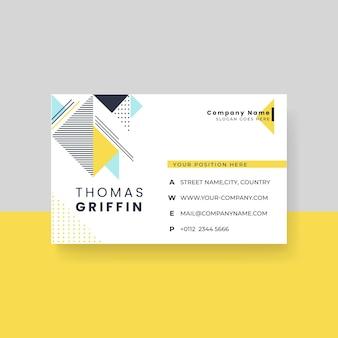 Modello di biglietto da visita minimalista con design di memphis