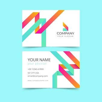 Modello di biglietto da visita minimalista con forme colorate