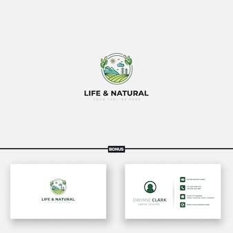 Modello di biglietto da visita moderno naturale di vita paesaggistica