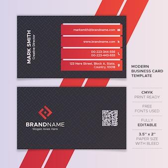 Modello di biglietto da visita moderno rosso e nero