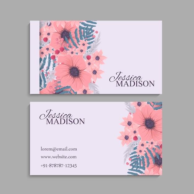 Modello di biglietto da visita, motivo floreale di sfondo