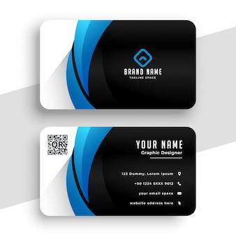 Modello di biglietto da visita nei colori blu e neri