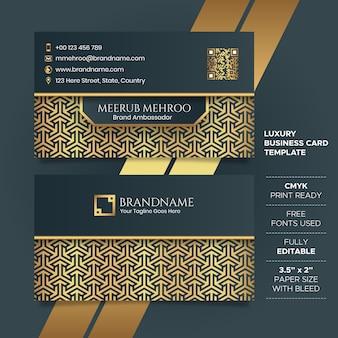 Modello di biglietto da visita nero e dorato di lusso