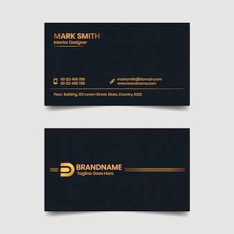 Modello di biglietto da visita nero e oro di lusso dorato design biglietto da visita