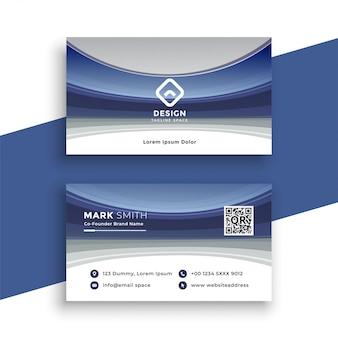 Modello di biglietto da visita ondulato blu elegante