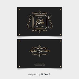 Modello di biglietto da visita ornamentale dorato