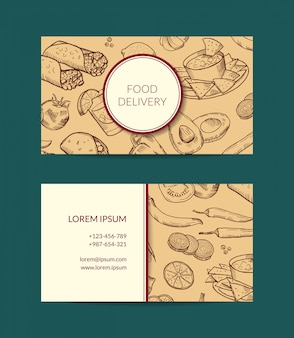 Modello di biglietto da visita per la consegna ristorante, negozio o caffè con elementi di cibo messicano abbozzato