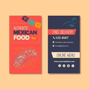 Modello di biglietto da visita per ristorante di cibo messicano