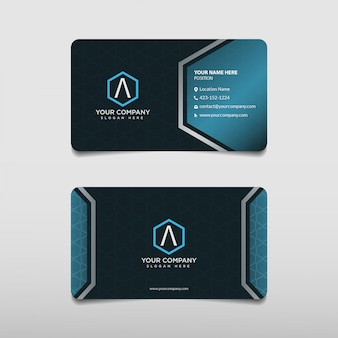 Modello di biglietto da visita professionale blu moderno