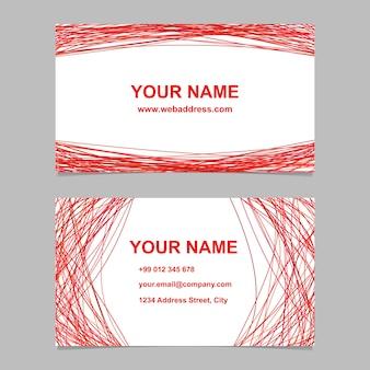 Modello di biglietto da visita rosso impostato - illustrazione vettoriale azienda con linee curve su sfondo bianco