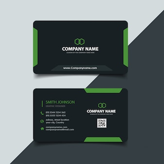 Modello di biglietto da visita scuro e verde