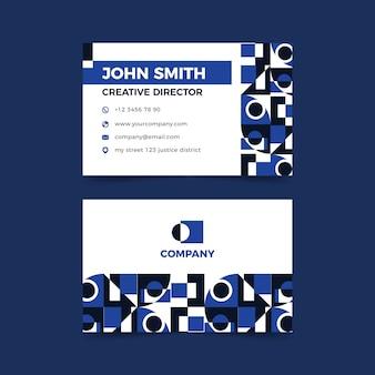 Modello di biglietto da visita sul design blu