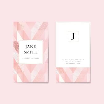 Modello di biglietto da visita verticale glitter rosa