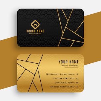 Modello di biglietto da visita vip di lusso nero e oro