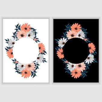 Modello di biglietto di auguri con bordo floreale cerchio