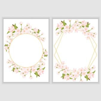 Modello di biglietto di auguri con cornice di fiori di ciliegio