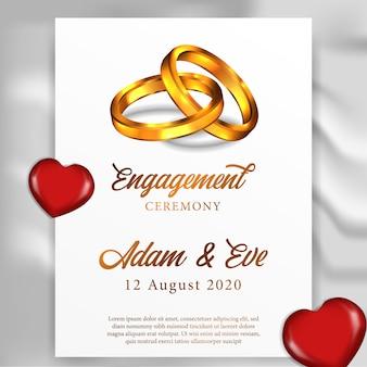 Modello di biglietto di auguri di matrimonio anello fidanzamento