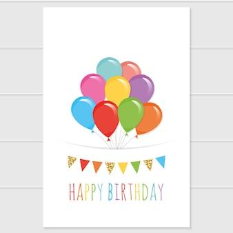 Modello di biglietto di compleanno con palloncini colorati