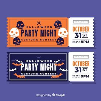 Modello di biglietto di festa di halloween disegnato a mano colorato