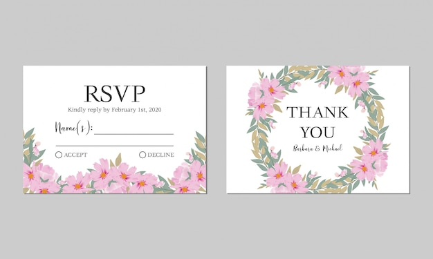 Modello di biglietto di ringraziamento di matrimonio floreale dell'acquerello rsvp