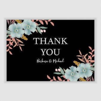 Modello di biglietto di ringraziamento floreale con decorazione floreale blu