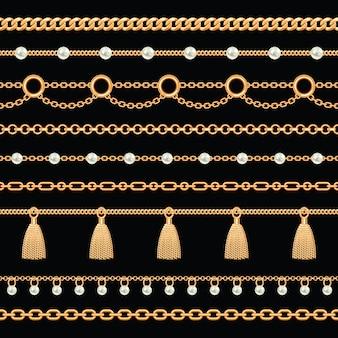 Modello di bordi di catena metallica dorata con perle e nappe