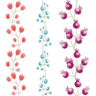 Modello di bordi floreali dell'acquerello