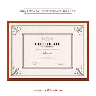 Modello di bordo certificato ornamentale