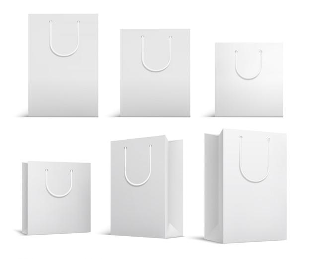 Modello di borsa della spesa. sacchetti di papper bianco bianco. pacchetto di prodotti per lo shopping per il modello di marchio aziendale