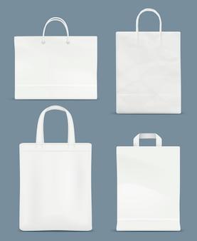 Modello di borsa della spesa. sacchetto di carta in plastica con impugnatura di carta
