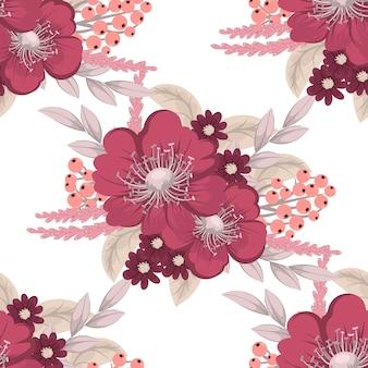 Modello di bouquet floreale con fiori e foglie